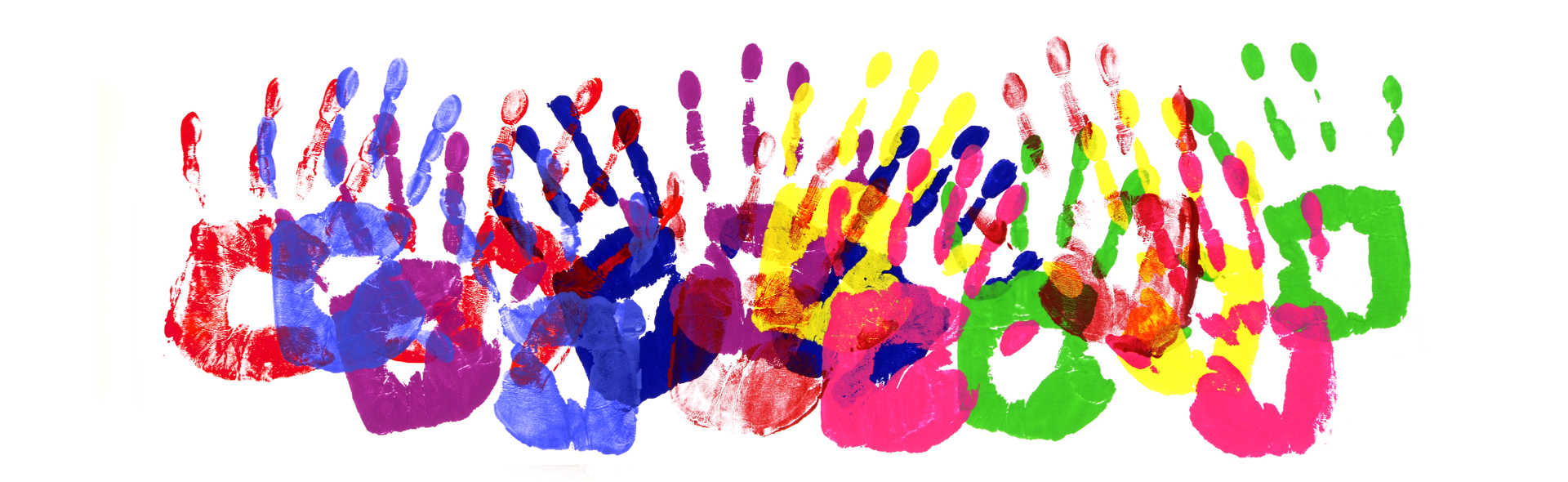 Female or child handprints made from vivid acrylic paint on white paper